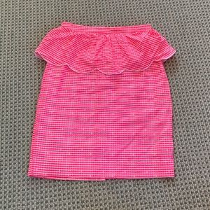 Lily Pulitzer pink Gingham pencil skirt w scallop
